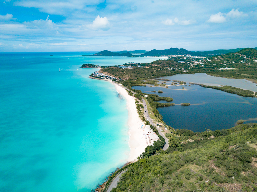 Antigua from the sky on our Cruise for the Caribbean Carnival Fathom experience