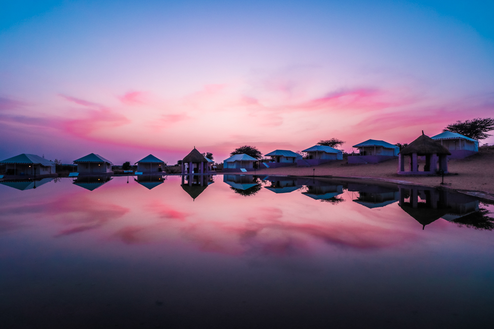 Thar Oasis resort and camp sunset in India