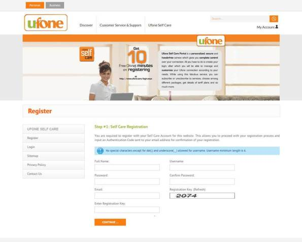 UFONE Self Care Service to Prepaid customers