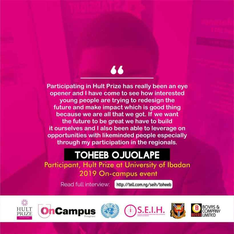 "[HultPrize interview]: ""I expect more participation from UI students because it is very important for us to have so many people participating."" – Toheeb Ojuolape"