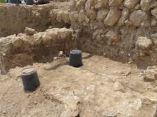 Mud-brick walls beneath EB III stone wall foundations, Area E, 2011