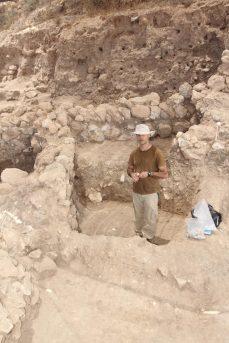 Dan Cabanes from University of Barcelona taking phytolith samples, Area E 2013