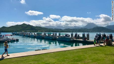 Visitors to this marina in Kaneohe Bay, Hawaii, left the water and ran for cover after receiving the missile alert Saturday morning.