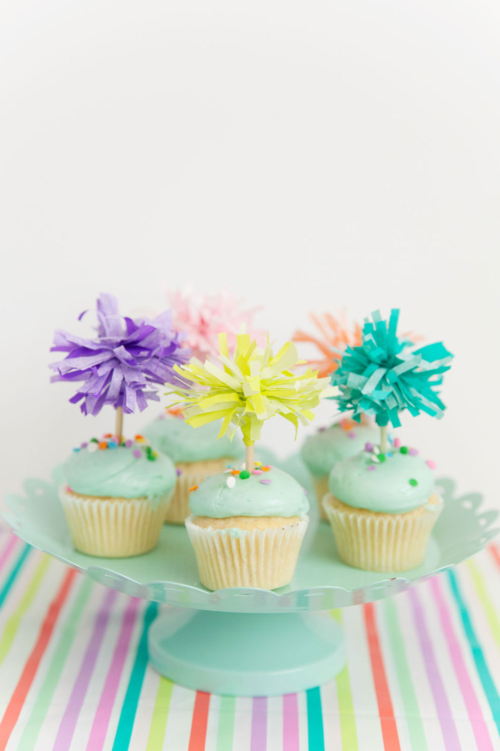 Tissue Paper Cupcake Toppers Tell Love And Party