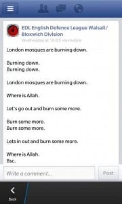 Walsall EDL burn mosque