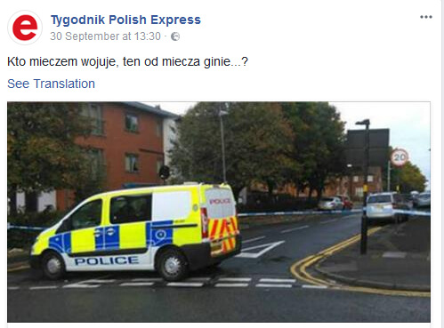 Polish Express removes 'live by the sword' headline following stabbing of boy near mosque