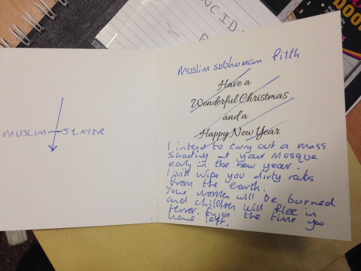 Threat to Shoot Mosque Attendees Listed in Christmas Card to Institute
