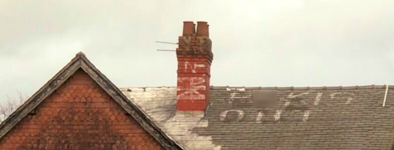 'P*kis Out': racist graffiti spotted on Manchester rooftop