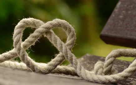 Rope twisted in a heart shape
