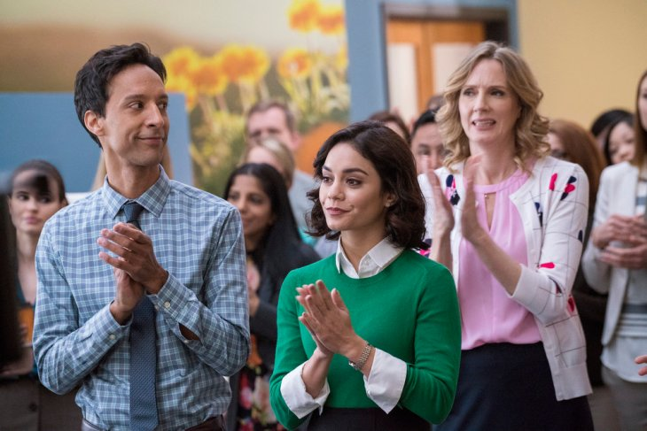 POWERLESS -- Pilot -- Pictured: (l-r) Danny Pudi as Teddy, Vanessa Hudgens as Emily, Christina Kirk as Jackie -- (Photo by: Chris Large/NBC)