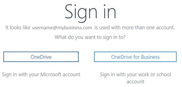 onedrive signin screen showing both personal and business login options