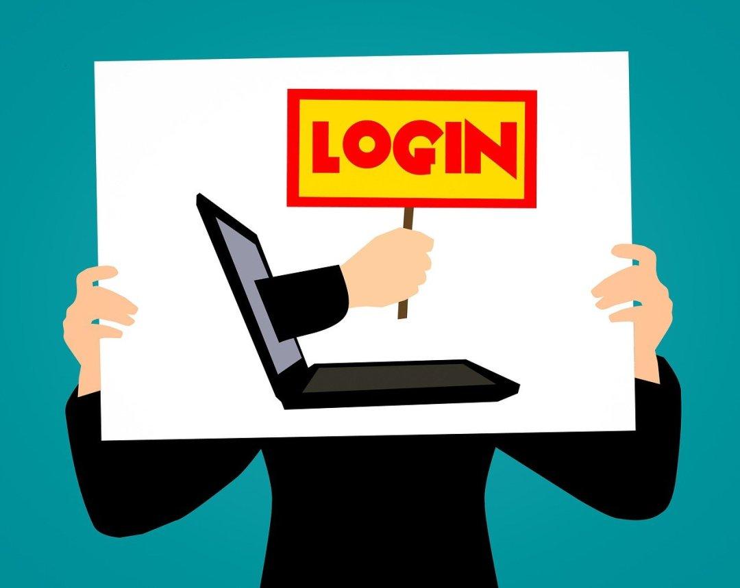 illustration som visar en person som håller upp en bild med en dator som kräver log in.