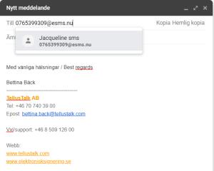 Med TellusTalk kan du skicka SMS från din vanliga mejl
