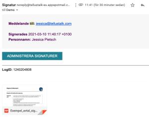Signatur skickas till mailen
