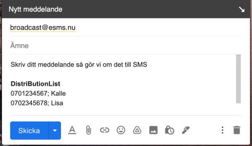 Skicka SMS med broadcast