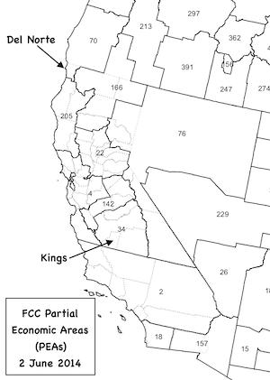FCC PEAs with California county overlay