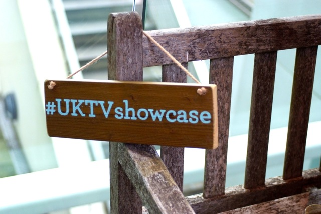 Picture of label and bench taken at the UKTV Showcase event attended by Telly Juice Video Production