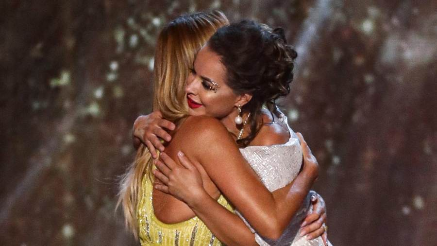 Amanda Holden hugs her Golden Buzzer act Kseniya Simonova on Britain's Got Talent: The Champions