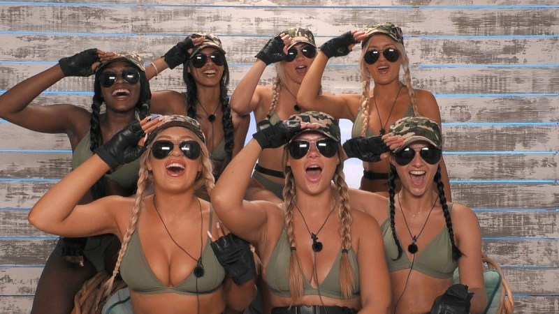The girls in their outfits for the challenge, Booty Camp.