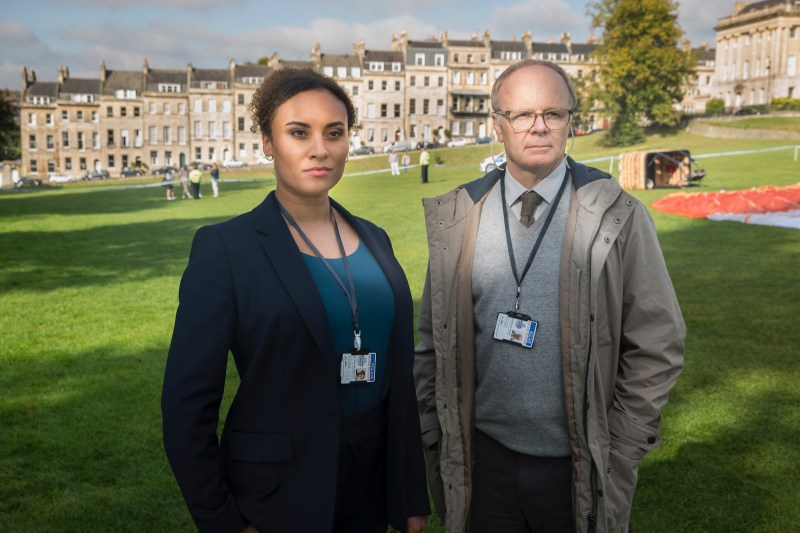 JASON WATKINS as DS Dodds and TALA GOUVEIA as DCI Lauren McDonald.