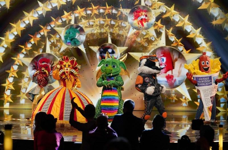 The Masked Singer - Robin, Harlequin, Dragon, Badger and Sausage.