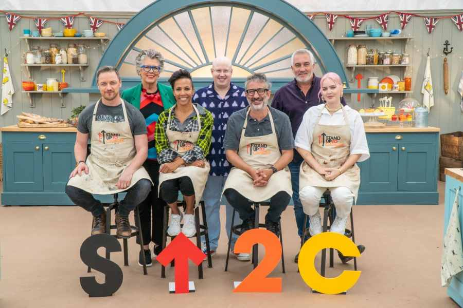 James McAvoy, Dame Kelly Holmes, David Baddiel and Anne-Marie with Matt, Paul and Prue.