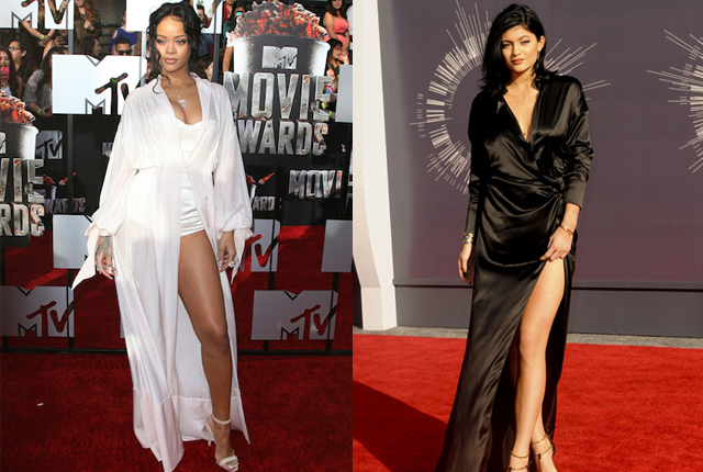 Kylie looked gorgeous in her black gown, but this isn't the first time we've seen a lingerie style dress on a red carpet. Rihanna wore sexy PJs to the 2014 MTV Movie Awards earlier this year.