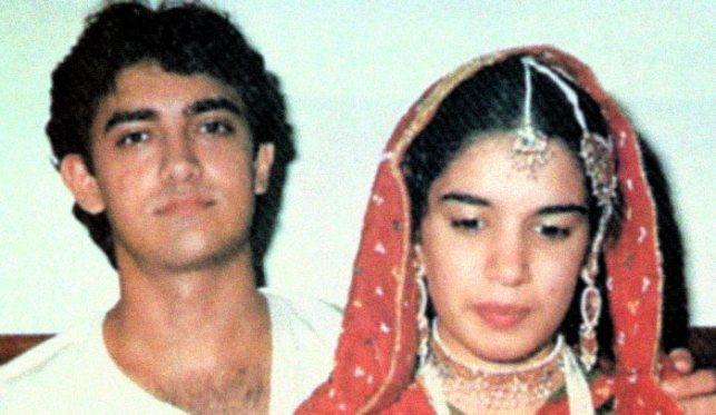 Aamir khan and Reena Dutta at their wedding.