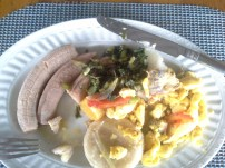 Breakfast: ackee and saltfish, green bananas, plantain, callaloo