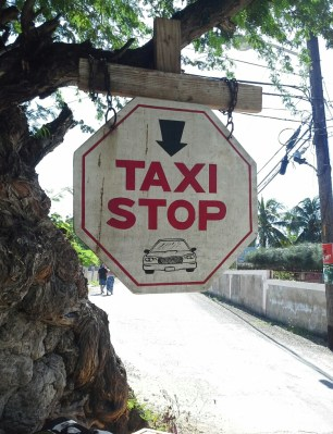 Taxi stop by Acacia tree Treasure Beach