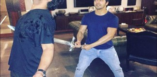 Prabhas and Bollywood hero Varun Davan has acted with Bahabali2 knife seen