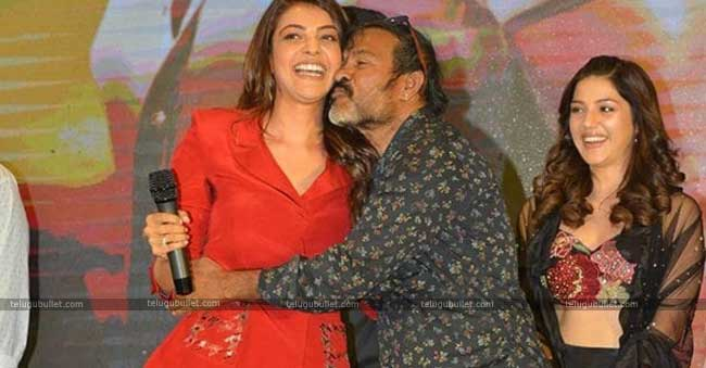 Chota K Naidu kisses Kajal Agarwal at an event