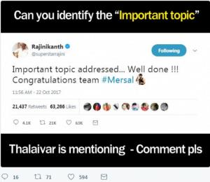 Rajinikanth about Vijay Mersal