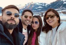 Kohli And Anushka Pose With Varun Dhawan And Natasha Dalal