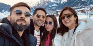 Kohli And Anushka Pose With Varun Dhawan And Natasha Dalal