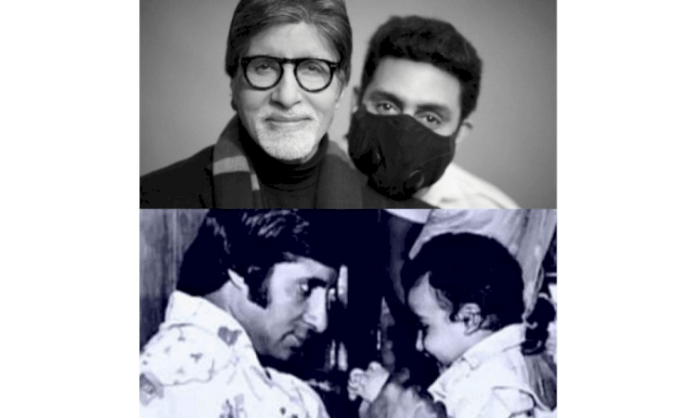 Big B posts 'then and then' pic collage with son Abhishek