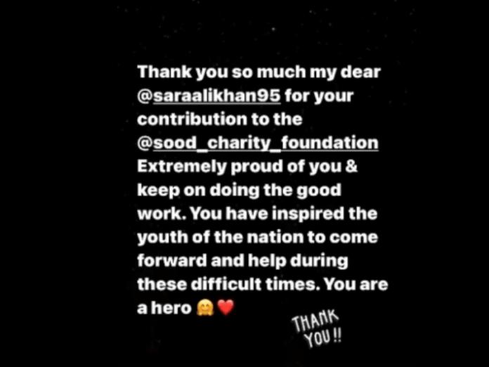 Sonu Sood hails Sara Ali Khan as 'hero' after she donates to his foundation