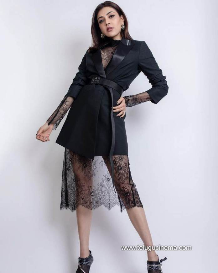 Kajal Aggarwal in a black coat outfit