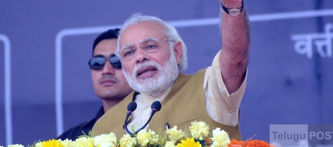 Hajipur: Prime Minister Narendra Modi addresses during the foundation stone laying ceremony of the various Railway projects, at Hajipur, in Bihar on March 12, 2016.