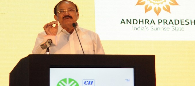Vishakhapatnam: Vice President M. Venkaiah Naidu addresses the CII Partnership Summit 2018 in Vishakhapatnam, Andhra Pradesh on Feb 24, 2018.