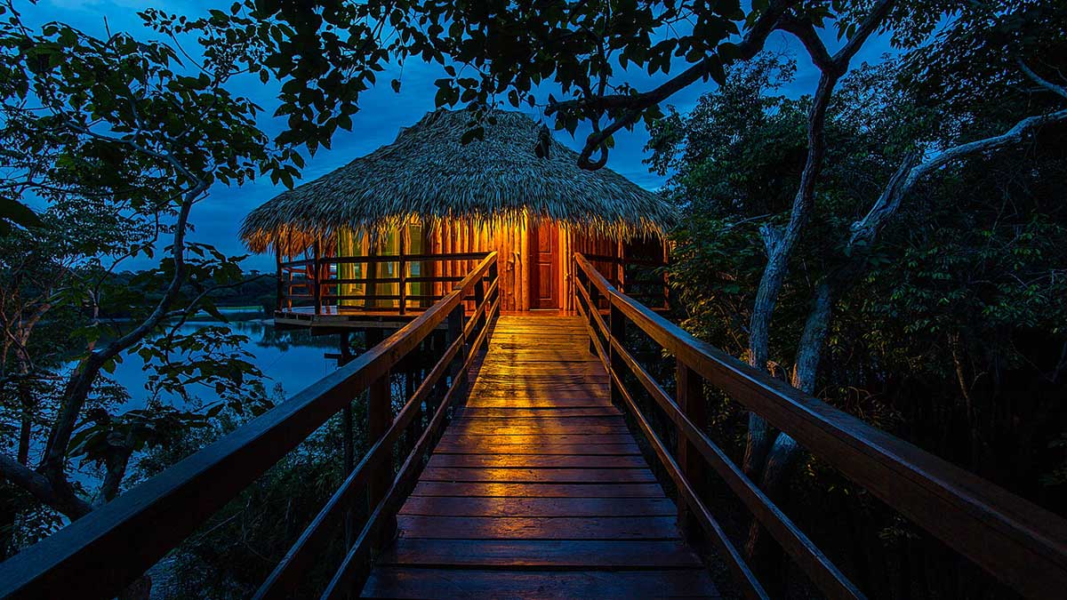 Entrada dos Bagalôs do Juma Lodge, uma verdadeira imersão na floresta