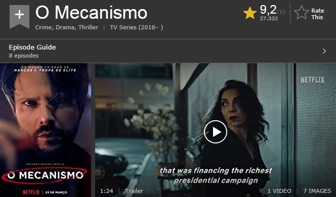 O Mecanismo nota IMDb