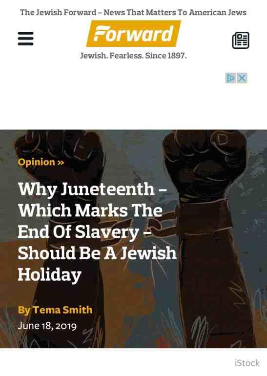 Screenshot of Juneteenth article on the Forward website
