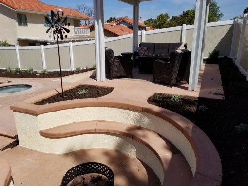 Sunken fire pit and raised seating area