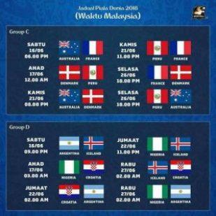Jadual Perlawanan Piala Dunia 2018 (Waktu Malaysia)