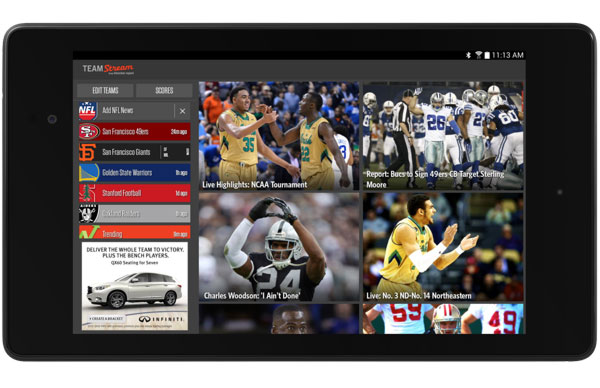 teamstream on android tablet
