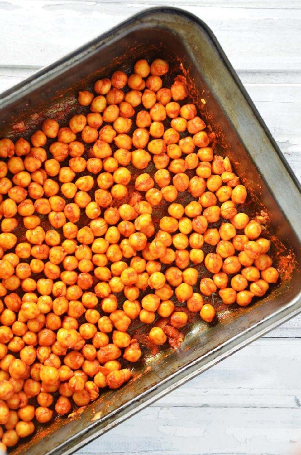 Grão de bico temperado - antes de ir pro forno