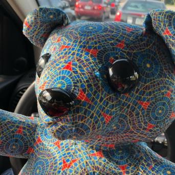 Marriott carpet pattern teddy bear by The Monster Cafe