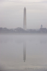 foggy washington monument