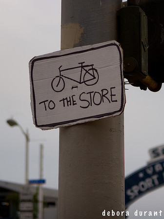 bike to the store handmade sign
